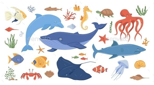 Cartoon Sea Ocean Animals Corals and Seaweeds - Animals Characters