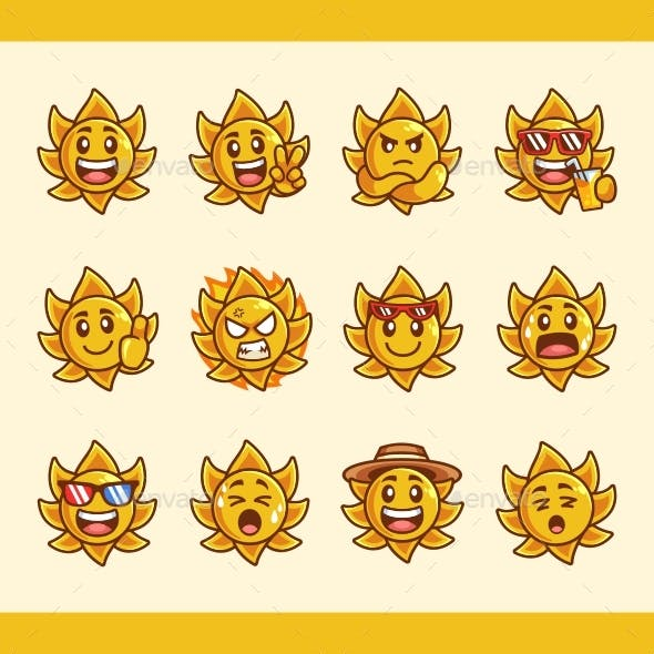 Collection of Sun Cartoon Character