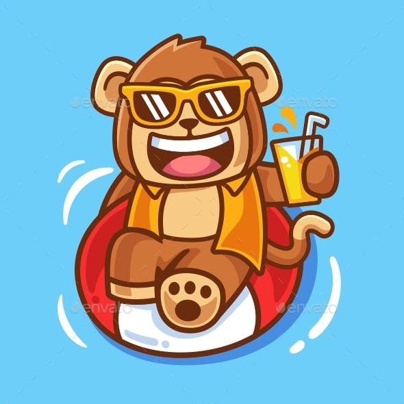 Cartoon Monkey with Swimming Ring Illustration