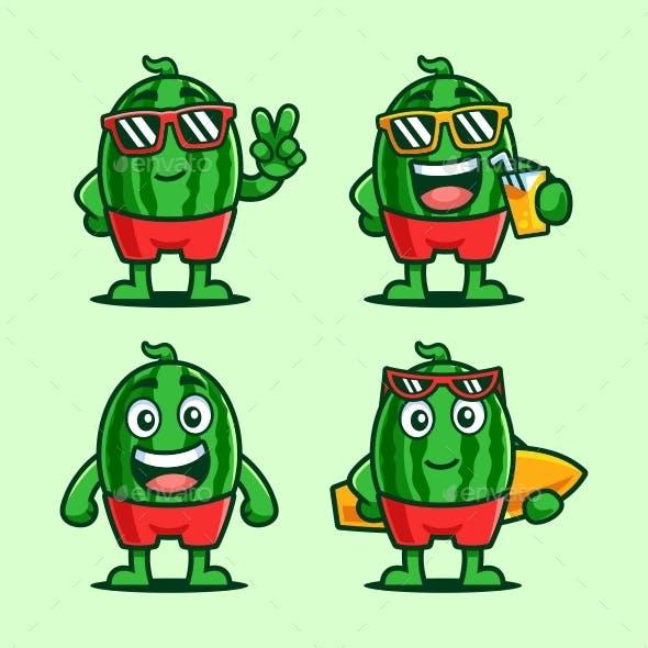 Watermelon Summer Cartoon Character Set
