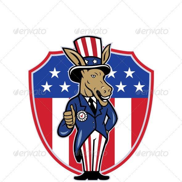 Democrat Donkey Mascot Thumbs Up