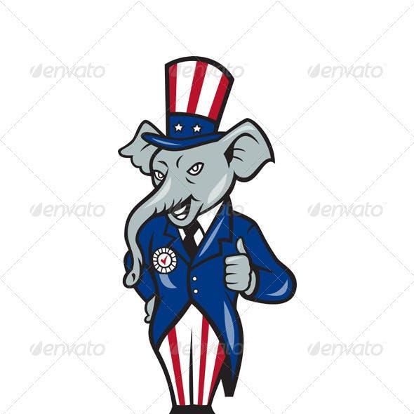 Republican Elephant Mascot Thumbs Up