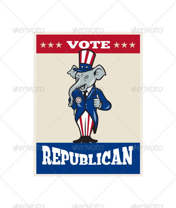 Republican Elephant Mascot Thumbs Up USA Flag  - Animals Characters