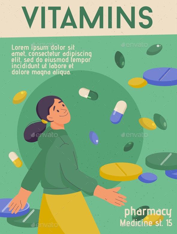 Vector Poster of Vitamins Concept - Health/Medicine Conceptual