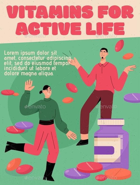 Vector Poster of Vitamins for Active Life Concept - Health/Medicine Conceptual