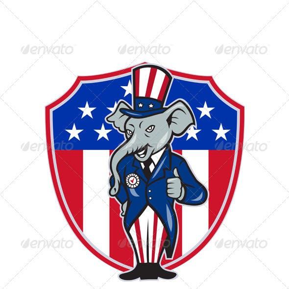 Republican Elephant Mascot Thumbs Up Shield