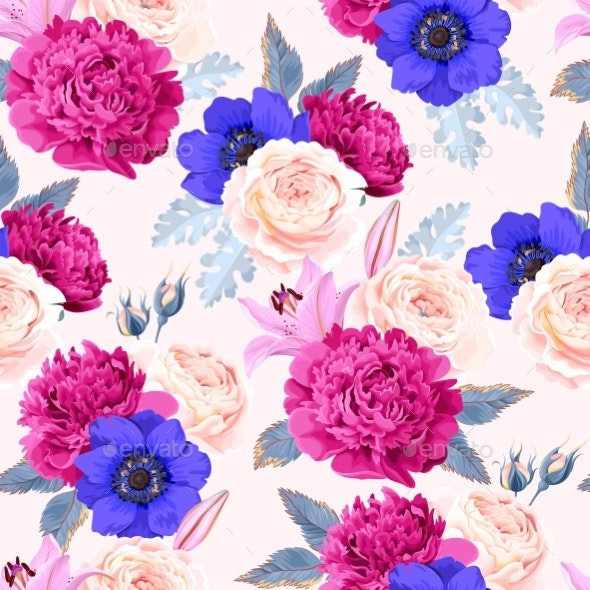 Vector Seamless Pattern with High Detailed Flowers - Flowers & Plants Nature