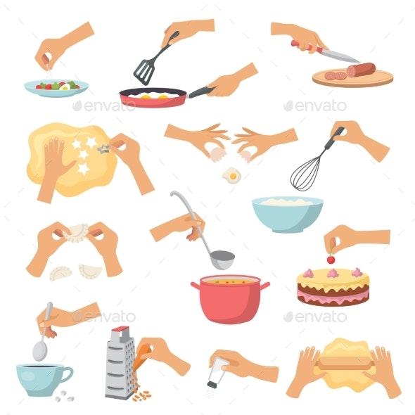 Hands Preparing Food - Miscellaneous Vectors