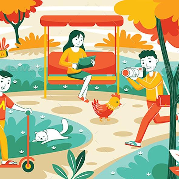 City Park Vector Illustration #01