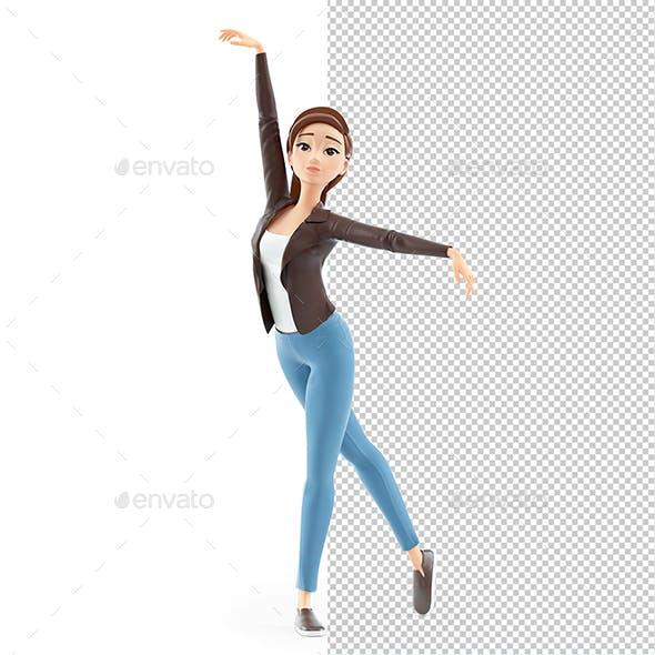 3D Cartoon Woman Ballet Dance Pose