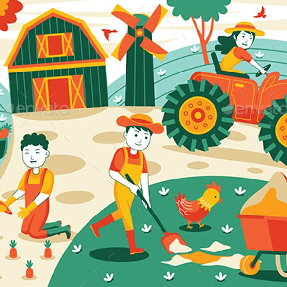 Agriculture and Farming Vector Illustration #01