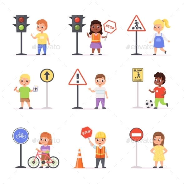 Kids Road Signs - Miscellaneous Vectors