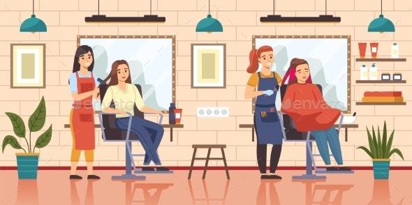 Female Hair Salon - People Characters