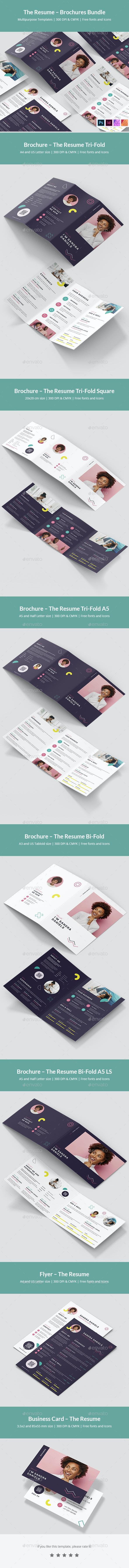 The Resume – Brochures Bundle Print Templates 7 in 1 - Informational Brochures