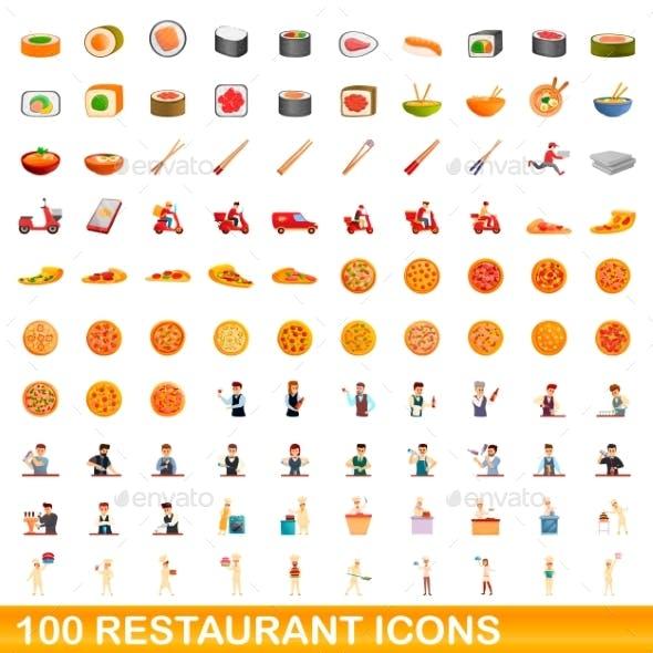 100 Restaurant Icons Set Cartoon Style