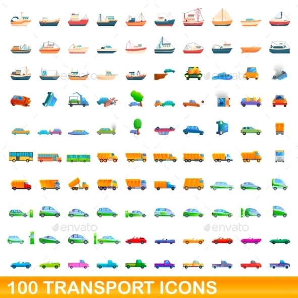 100 Transport Icons Set Cartoon Style - Man-made objects Objects