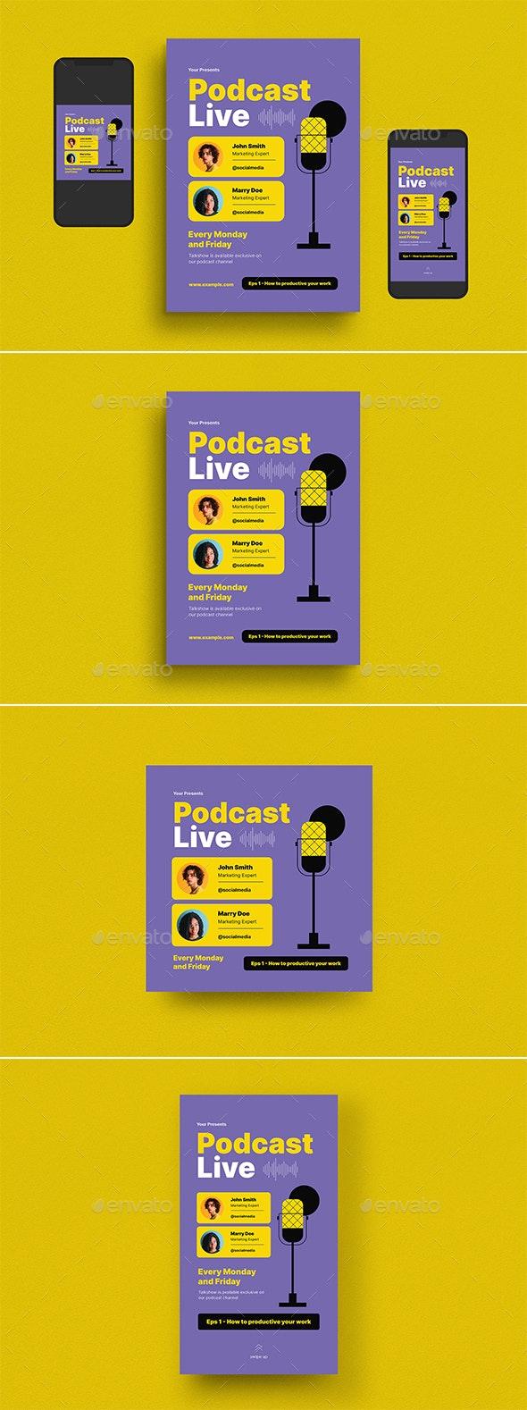 Podcast Live Event Flyer Set - Flyers Print Templates