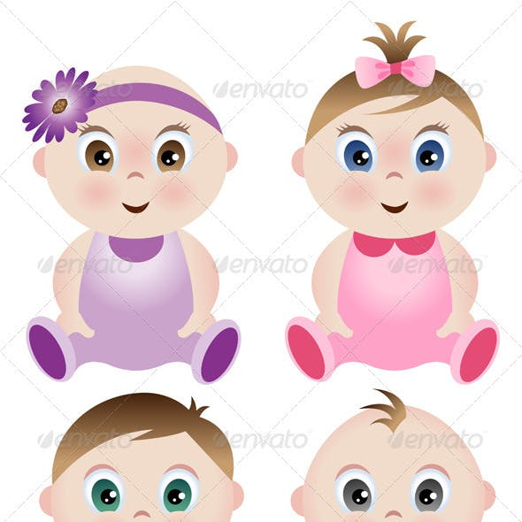 A Set of 4 Babies - 2 Boys and 2 Girls