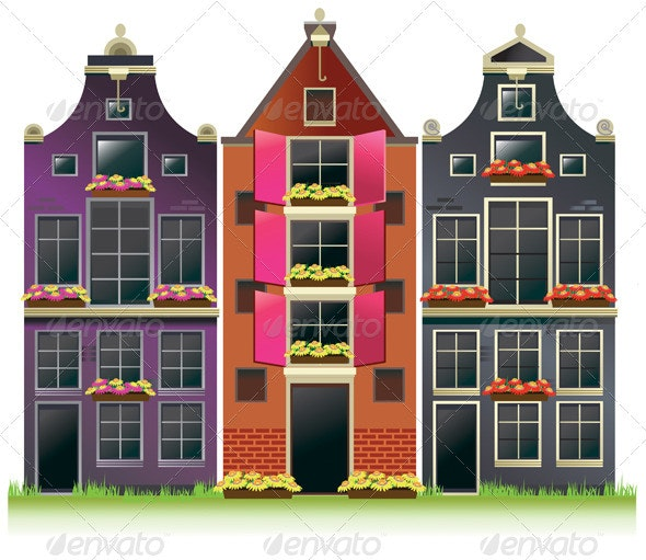 Old Amsterdam Canal Houses from Europe - Buildings Objects