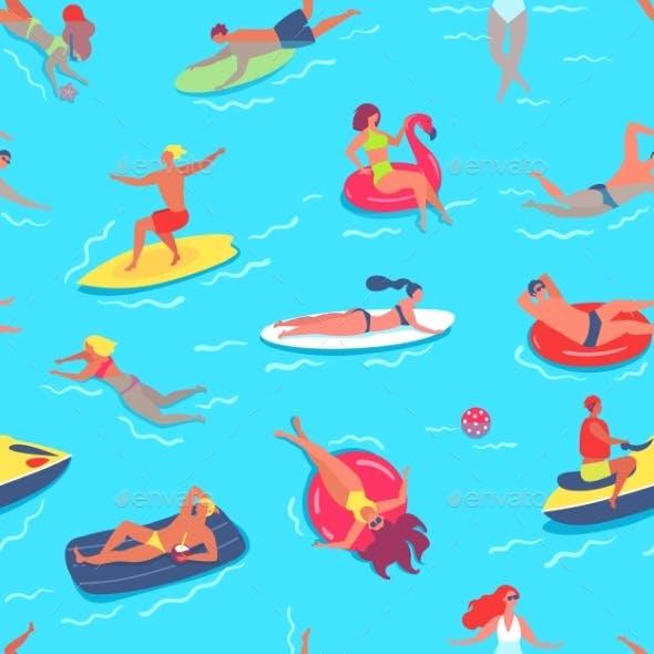People Swimming Seamless Pattern