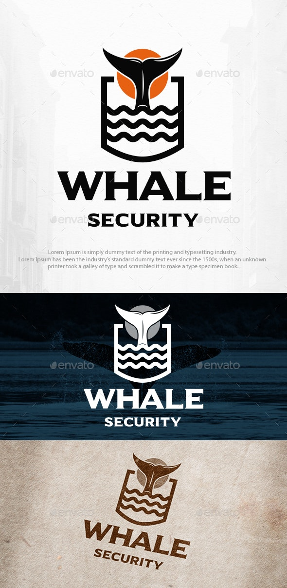 Whale Tail Shield Logo Template - Animals Logo Templates