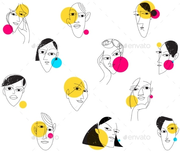 Seamless Modern Background with Faces in Cute Pop - Miscellaneous Vectors