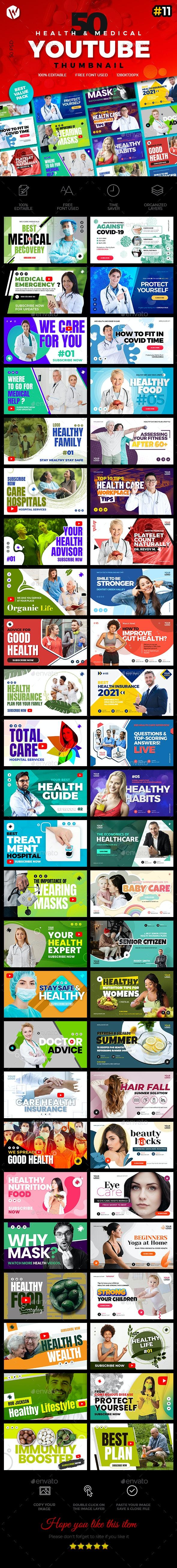 50 Youtube Thumbnail  Health & Medical - V11 - YouTube Social Media