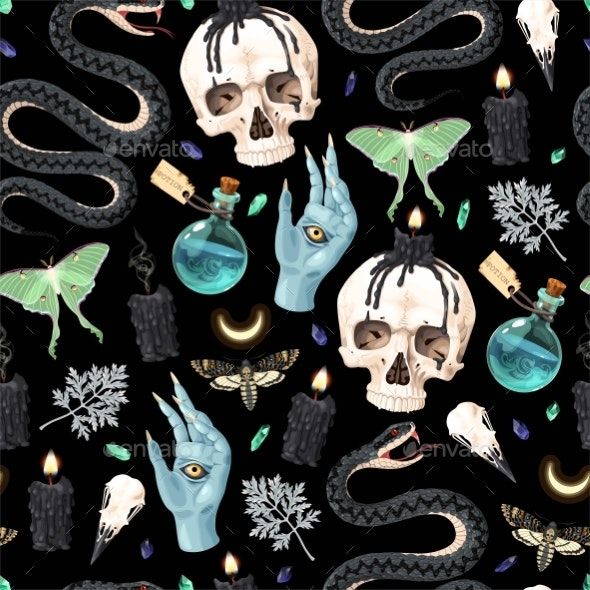 Seamless Magic Pattern with Supply for Witchcraft - Backgrounds Decorative