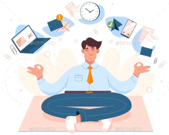 Flat Businessman Sitting in Lotus Position  - Business Conceptual