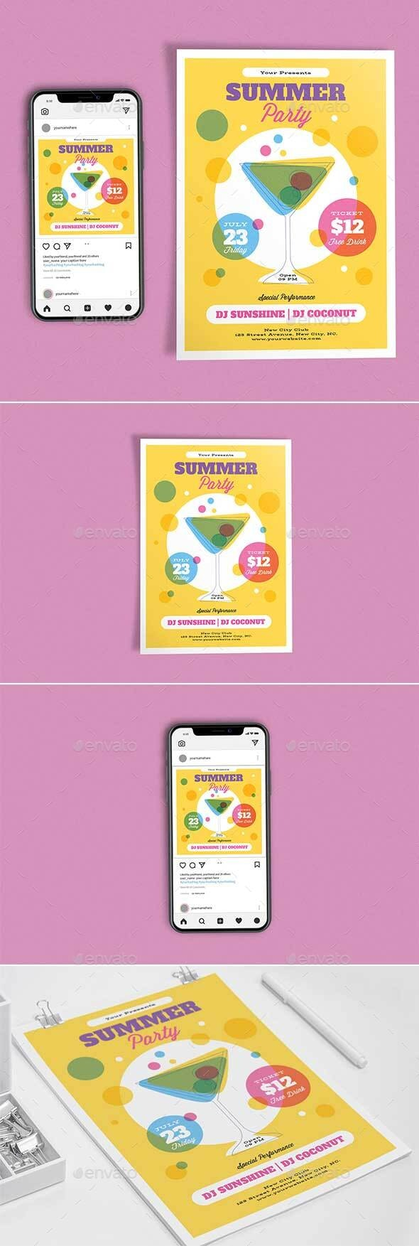 Cocktail Summer Party Template Set - Clubs & Parties Events