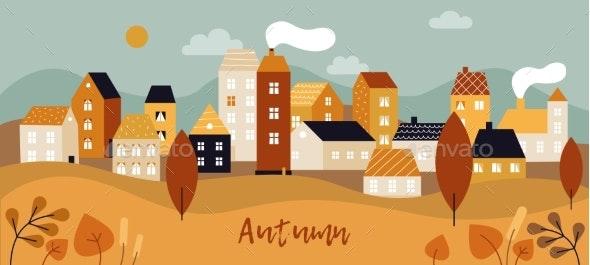 Autumn City Landscape - Buildings Objects