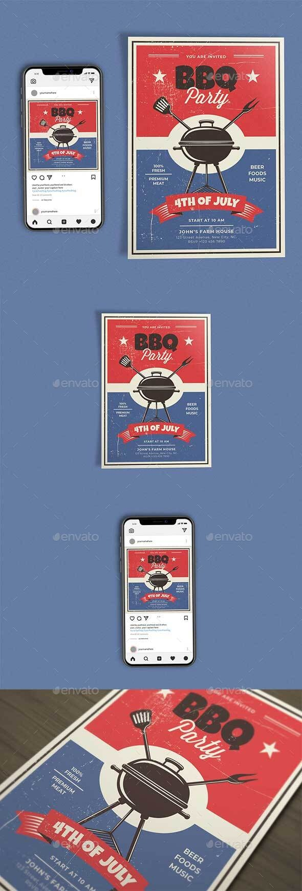 BBQ Party 4th of July Template Set - Clubs & Parties Events