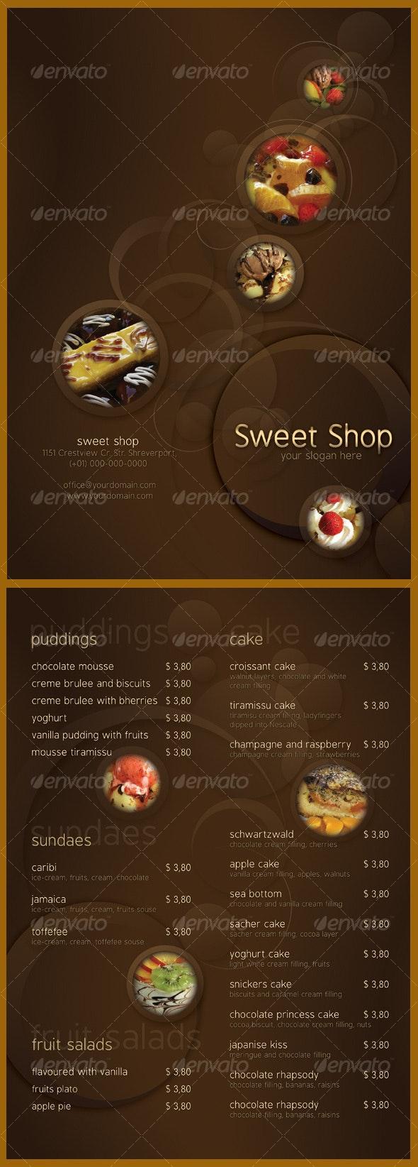 Sweet Shop Menu - Food Menus Print Templates