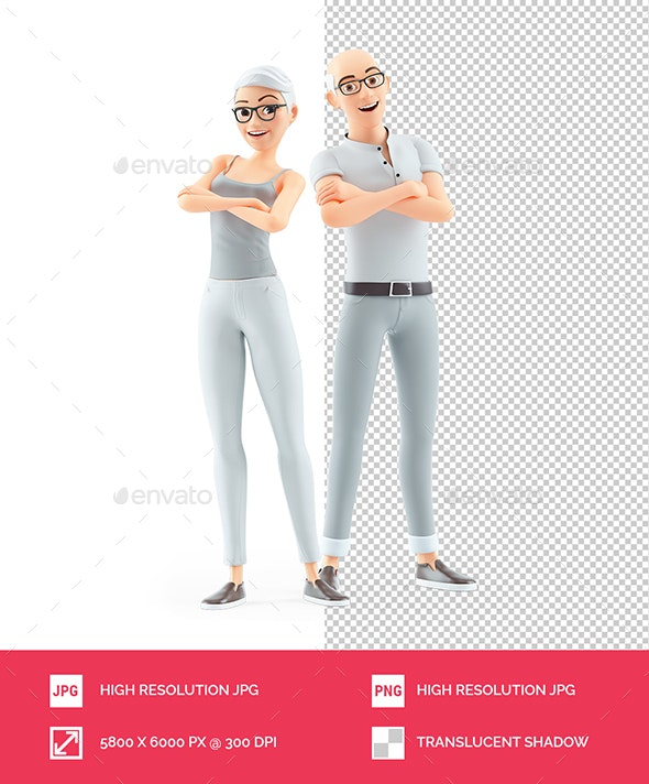 3D Senior Man and Woman with Arms Crossed - Characters 3D Renders