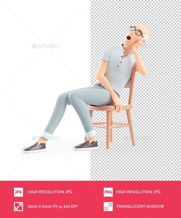 3D Senior Man Sleeping on Chair - Characters 3D Renders
