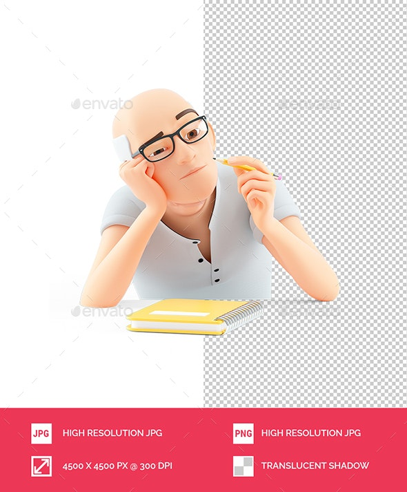 3D Senior Man with Pencil Searching Inspiration - Characters 3D Renders