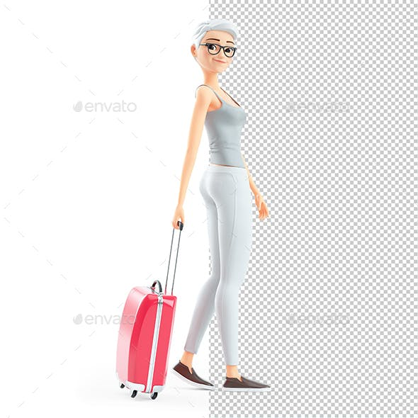 3D Senior Woman Walking with Travel Suitcase
