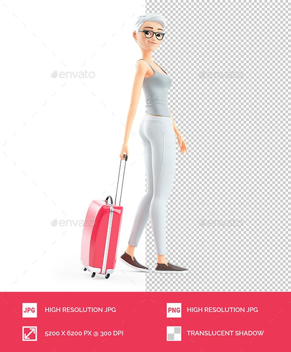 3D Senior Woman Walking with Travel Suitcase - Characters 3D Renders