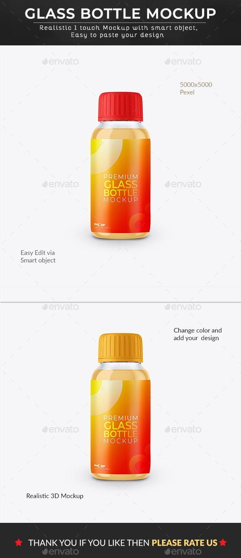 Premium Glass Bottle Mockup - Graphics