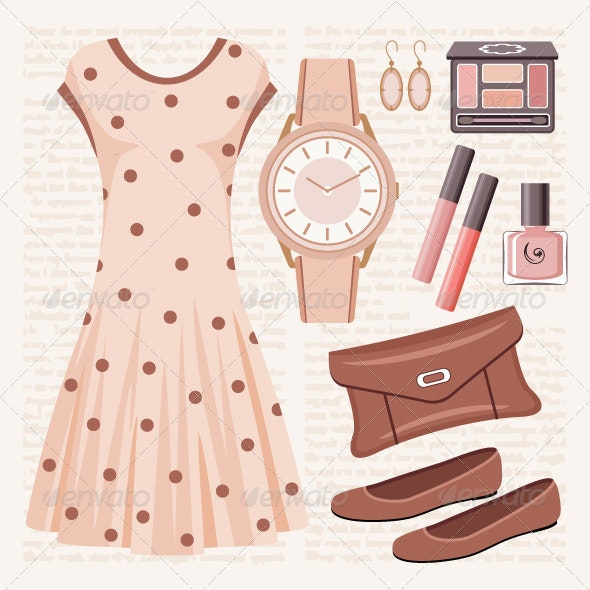 Fashion set in pastel tones with a dress - Conceptual Vectors