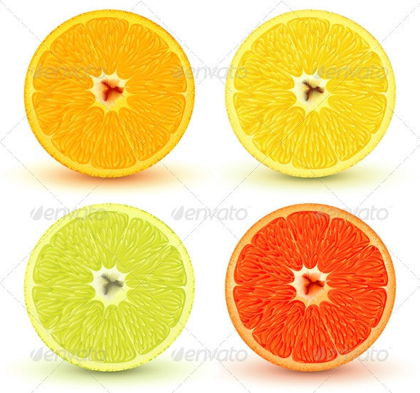 Slices of citrus fruits - Food Objects