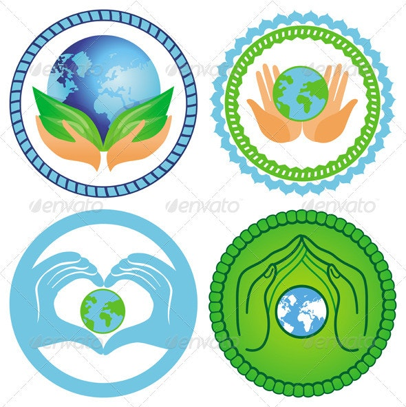 Set of ecology emblems - vector environment concep - Nature Conceptual