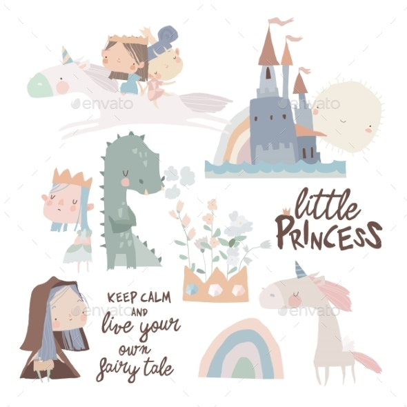 Set of Cute Little Princesses Dragons and Magic - People Characters