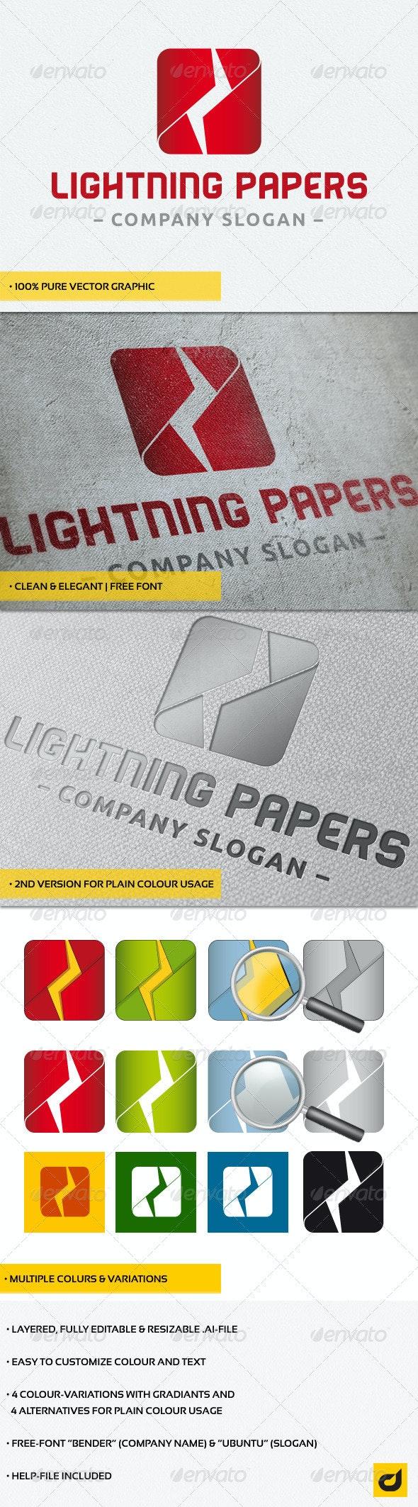 """Lightning Papers"" Logo - Symbols Logo Templates"