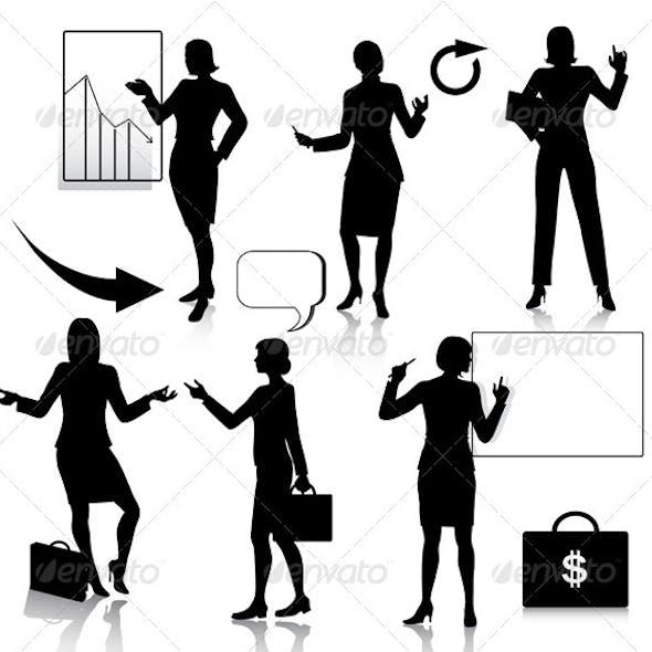 Business women silhouettes set