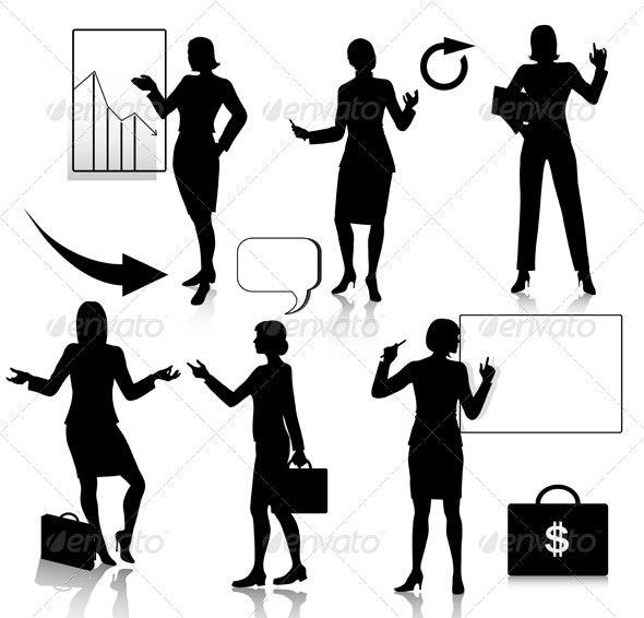 Business women silhouettes set  - Business Conceptual