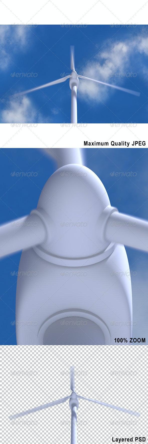 Rotating Wind Turbine on Blue Sky - Technology 3D Renders