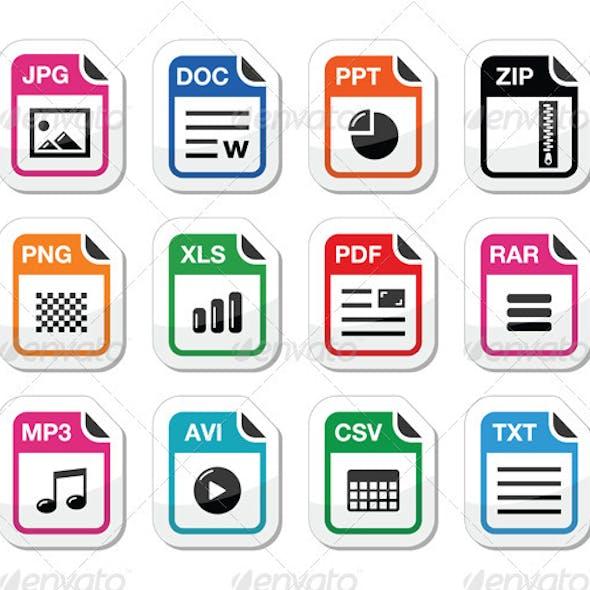 File type icons as labels set - zip, pdf, jpg, doc