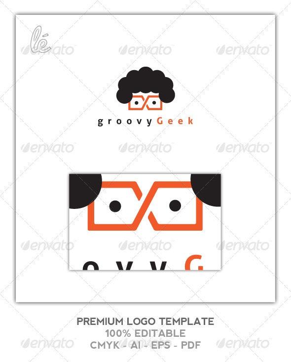 Groovy Geek Nerd Dev Web Designer Logo - Humans Logo Templates