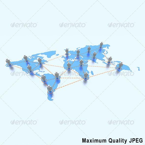 Stylized World Map with Global Communication